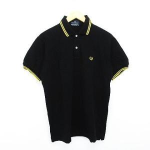 【中古】フレッドペリー FRED PERRY ポロシャツ 半袖 ライン ロゴ 刺繍 L ブラック×イ...