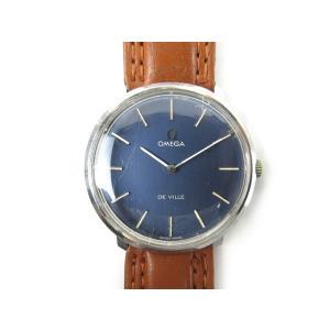 【中古】オメガ OMEGA 腕時計 ウォッチ デビル  DeVille TOOL 104  手巻き 純正ベルト 30mm ネイビー 紺 ブラウン 茶 アンティーク ビンテージ オールド|vectorpremium