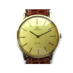 オメガ OMEGA 腕時計 ウォッチ De Ville デビル 手巻き 純正ベルト ゴールド ブラウン 茶 アンティーク ビンテージ オールド メンズ レディース【中古】|vectorpremium