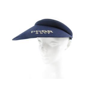 PRGR プロギア サンバイザー ロゴ 刺繍 紺 ネイビー コットン ゴルフ スポーツ 帽子 F レ...