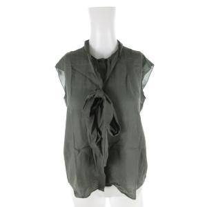 【中古】ユナイテッドアローズ UNITED ARROWS ノースリーブシャツ ブラウス リボン フレアー カーキ 緑 グリーン 36 トップス レディース 【ベクトル 古着】