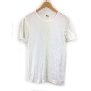 【中古】スリードッツ three dots Tシャツ 半袖 クルーネック 無地 L USA製 白 ホ...