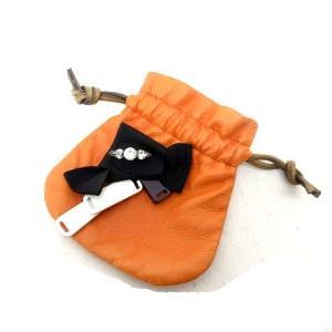 【中古】マルニ MARNI 巾着ポーチ 小物入れ レザー リボン装飾 イタリア製 オレンジ  SSS...