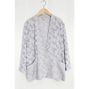 ノーカラー ジャケット アウター シースルー 刺繍 七分袖 ...