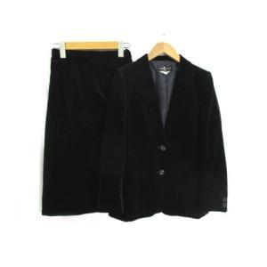 ミスピアッテリ MISS PIATTELLI スカートスーツ セットアップ ひざ丈 2B ベロア ブラック レディース【中古】【ベクトル 古着】 vectorpremium