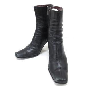 アンクライン ANNE KLEIN ショート ブーツ レザー スクエアトゥ 黒 34.5 □ レディース 【ベクトル 古着】【中古】|vectorpremium