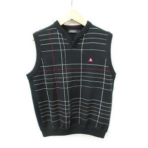 ルコックスポルティフ le coq sportif ゴルフウエア ニット ベスト チェック ウール ブラック ホワイト レッド 黒 白 赤 L メンズ|vectorpremium