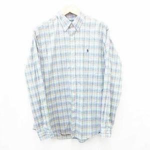 【中古】ラルフローレン RALPH LAUREN シャツ ボタンダウンシャツ チェック 刺繍 綿 緑...