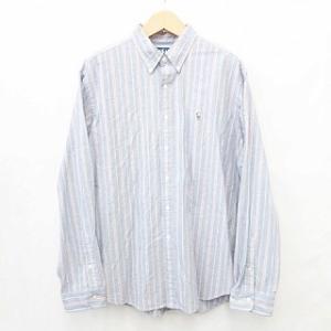【中古】ラルフローレン RALPH LAUREN シャツ ボタンダウンシャツ ストライプ 刺繍 綿 ...