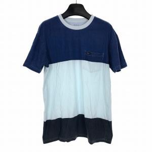 ルーカ RVCA ポケット Tシャツ カットソー 半袖 配色 グレー サックス ブルー M メンズ【中古】【ベクトル 古着】 vectorpremium