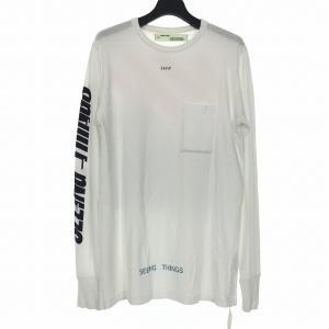 【中古】オフホワイト OFF WHITE 17AW プリント Tシャツ カットソー 長袖 SEEING THINGS S ホワイト 白 OMAB001F17185047 メンズ 【ベクトル 古着】