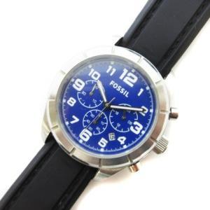フォッシル FOSSIL 腕時計 クオーツ クロノグラフ SS 青 ブルー 黒 ブラック シルバー BQ1244 ☆S☆ cmy0319 メンズ【中古|vectorpremium