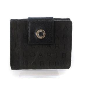 【中古】ブルガリ BVLGARI ロゴマニア 財布 二つ折り Wホック 黒 ブラック ☆CA☆キ31...