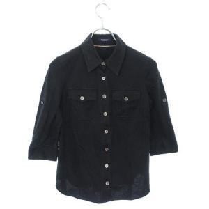 バーバリー ロンドン BURBERRY LONDON シャツ 七分袖 38 黒 ブラック ☆CA7☆...