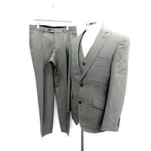MEN'S TENORAS セットアップ 3ピース スーツ ジャケット テーラード シングル ベスト ジレ パンツ スラックス L グレー メンズ【中古】【ベクトル 古着】|vectorpremium