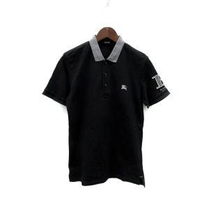 バーバリーブラックレーベル BURBERRY BLACK LABEL ポロシャツ ロゴ 刺繍 半袖 2 黒 グレー /SR28 メンズ【中古】【ベクトル 古着】|vectorpremium