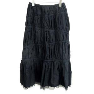 コルヴォビアンコ CORVO Bianco スカート ギャザー ロング 無地 コットン 40 黒 レディース 【ベクトル 古着】【中古】