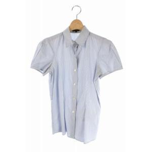 セオリー theory シャツ ストライプ 半袖 2 水色 ...