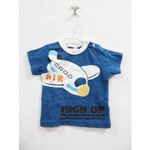 西松屋 半袖 Tシャツ 綿100% プリント クルーネック 青 白 80【中古】【ベクトル 古着】