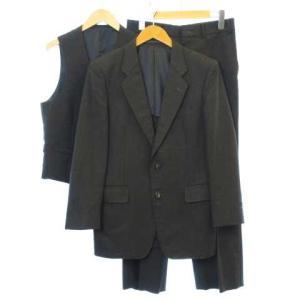 Hemingway 3ピーススーツ シングル ジャケット 2B ベスト ウール100% チャコールグレー 90-A KK1222  メンズ【中古】【ベクトル 古着】|vectorpremium