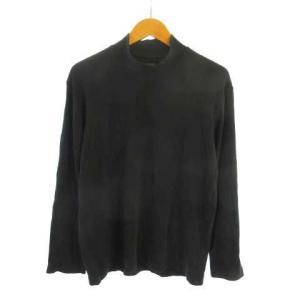 【中古】ユニクロ UNIQLO ソフトタッチ ハイネック Tシャツ 綿100% 長袖 ブラック 黒 ...