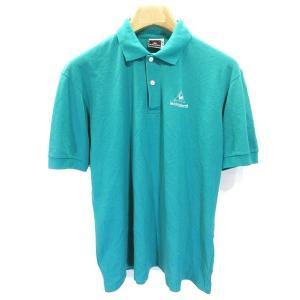 ルコックスポルティフ Le coq sportif ゴルフ ウェア ポロシャツ シャツ 半袖 ロゴ 刺繍 L エメラルドグリーン 青緑 メンズ【中古】【ベクトル 古着】|vectorpremium