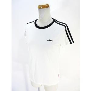 アディダス adidas Tシャツ カットソー 半袖 スリーストライプス 白 ホワイト L 国内正規 QQ レディース 【中古】【ベクトル 古着】|vectorpremium