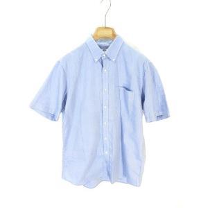 【中古】ユニクロ UNIQLO シャツ 半袖 ボタンダウン 無地 XL ライトブルー 水色 メンズ ...