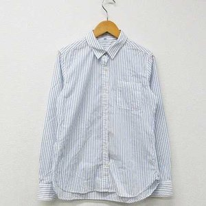 無印良品 良品計画 シャツ ブラウス ストライプ 胸ポケット フォーマル コットン 長袖 白 水色 ...