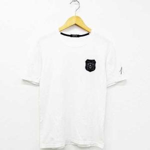 【中古】バーバリーブラックレーベル BURBERRY BLACK LABEL Tシャツ トップス 半袖 コットン ロゴ ワッペン 丸首 白 ネイビー 2 難有 メンズ 【ベクトル 古着】 vectorpremium