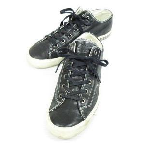 【中古】プロケッズ PRO-KED'S スニーカー シューズ 靴 ローカット 3本ライン レザー 黒...