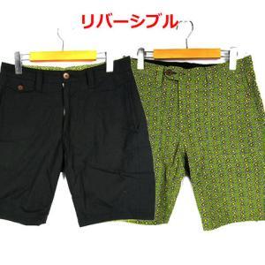 02DERIV. リバーシブル ハーフ パンツ 黒 黄緑 1...