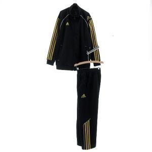アディダス adidas ジャージ セットアップ 上下セット ジャケット 長袖 パンツ ロングパンツ ロゴ ライン ブラック 黒 黄色 150 140【中古】【ベクトル 古着】|vectorpremium