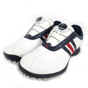 【中古】アディダス adidas ゴルフシューズ Q44805 ボアシステム BOA ホワイト 白 ネイビー 紺 レッド 赤 22.5 レディース 【ベクトル 古着】|vectorpremium