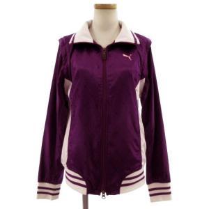 【中古】プーマ PUMA ジャケット ベスト 2way ナイロン ウインドブレーカー ロゴ 刺繍 総柄 パープル 紫 ホワイト 白 L レディース 【ベクトル 古着】