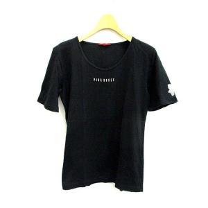 ピンクハウス PINK HOUSE カットソー Tシャツ ロゴ 半袖 L 黒 /YO7 ■MB レディース【中古】【ベクトル 古着】|vectorpremium