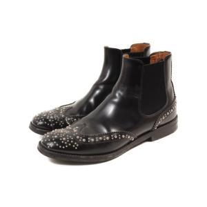 チャーチ church's KETSBY ブーツ ショート サイドゴア スタッズ ウイングチップ 37 黒 ブラック /☆o0517 レディース 【中古】【ベクトル 古着】|vectorpremium