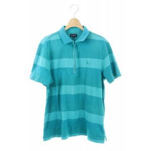 バーバリーゴルフ BURBERRY GOLF ポロシャツ 半袖 ハーフジップ ボーダー 4 青 緑 ...