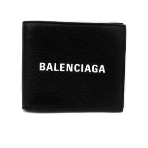 faf27f00ece3 バレンシアガ BALENCIAGA 財布 二つ折り 札入れ ロゴ レザー DLQHN 1000 485108 黒 ブラック /KS13 メンズ