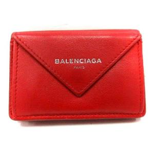 バレンシアガ BALENCIAGA 財布 三つ折り Wホック ペーパーミニウォレット 391446 赤 /YI27 レディース 【中古】【ベクトル 古着】|vectorpremium