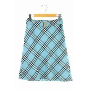 【中古】バーバリーブルーレーベル BURBERRY BLUE LABEL スカート 台形 チェック ...