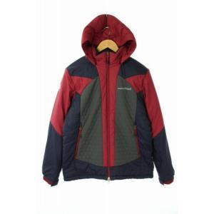 【中古】モンベル Montbell ダウンジャケット ジップアップ フード L 紺 赤 グレー /A...