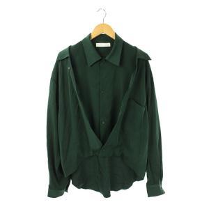 【中古】エトセンス ETHOSENS シャツ フェイクレイヤード 長袖 2 緑 /KN ■OS メン...
