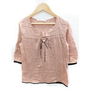 ポルテデブトン Porter des boutons Tシャツ スクエアネック リボン 七分袖 ピン...