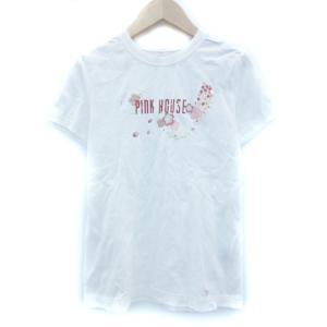 ピンクハウス PINK HOUSE Tシャツ カットソー 半袖 ラウンドネック ロゴプリント M 白 ホワイト /MY1 レディース【中古】【ベクトル|vectorpremium