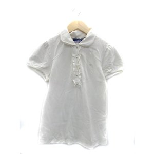 バーバリーブルーレーベル ポロシャツ カットソー 半袖 ラウンドカラー 無地 フリル ロゴ刺繍 38...