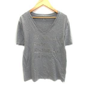 【中古】スリードッツ three dots Tシャツ カットソー Vネック 半袖 M グレー シルバ...