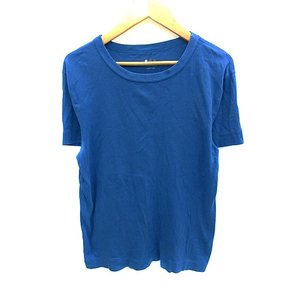 【中古】スリードッツ three dots Tシャツ カットソー ラウンドネック 半袖 無地 S 青...