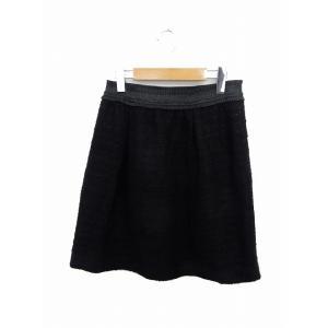 HK WORKS LONDON スカート 膝丈 台形 ウエストゴム ツイード 無地 シンプル M 黒...