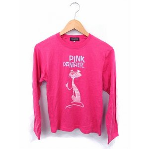af42058a545c ピンクパンサー PINKY PANTHER Tシャツ カットソー プリント ラメ混 丸首 長袖 コッ.
